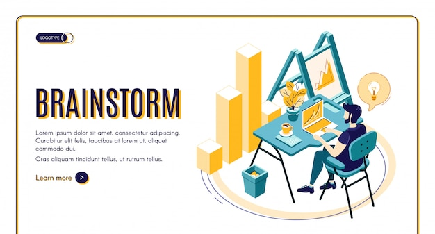 Business startup isometric vector landing page