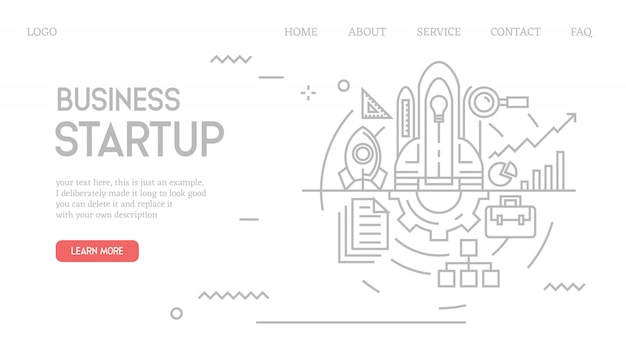 Business startup landing page in doodle style