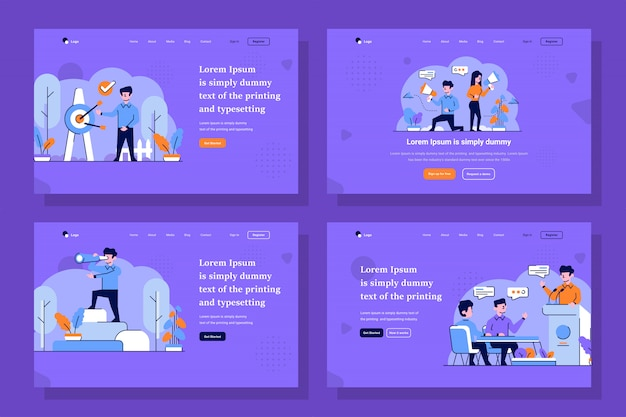 Business and startup landing page illustration in flat and outline design style