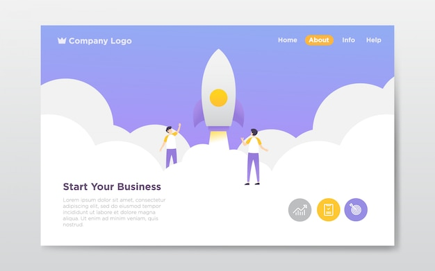 Business startup landing page illustration