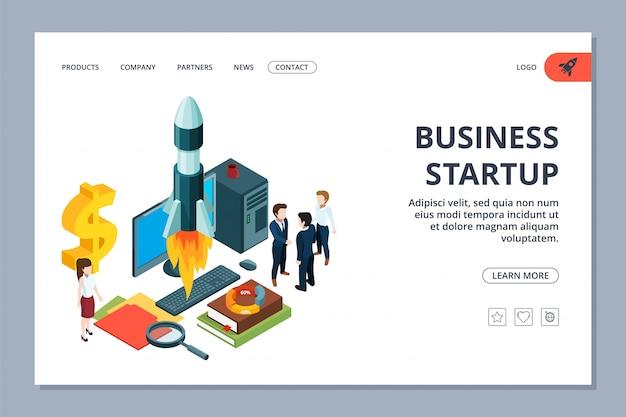 ビジネスのスタートアップのランディングページ。等尺性の若いビジネスチームとロケット。成功したスタートアップwebページ