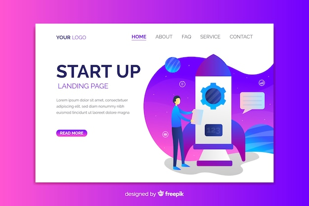 Business startup landing page with rocket