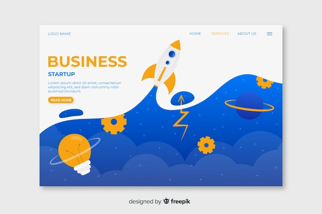 Business startup landing page with sky above clouds and space rocket