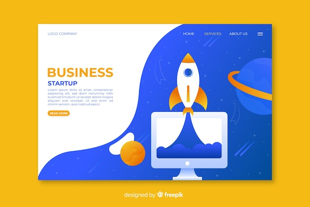 Business startup landing page with spaceship and planets