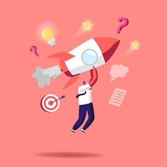 Запуск бизнес-стартапа, иллюстрация конкурса. персонажи-бизнесмены едут на ракетных двигателях, стремясь к финансовому успеху