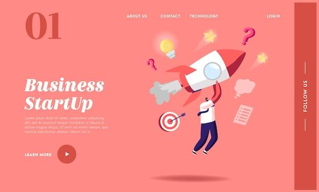 Запуск бизнес-стартапа, шаблон целевой страницы конкурса. персонажи-бизнесмены на ракетных двигателях, стремящихся к финансовому успеху. повышение деловой карьеры, достижение цели. векторные иллюстрации шаржа