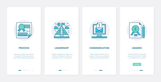 사업 시작, 리더 및 직원 팀 커뮤니케이션 프로세스. ux, ui 온 보딩 모바일 앱 세트, 신규 비즈니스 프로젝트 시작, 리더십