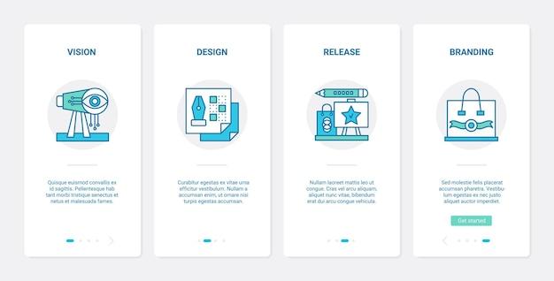 비즈니스 시작 라인 브랜딩 기술 ux ui 온 보딩 모바일 앱 페이지 화면 세트