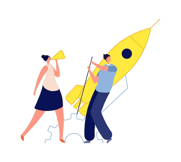 Business startup. man woman start rocket, marketing or management concept. teamwork and leadership, collaboration vector concept. wwoman and man creative strategy business startup illustration