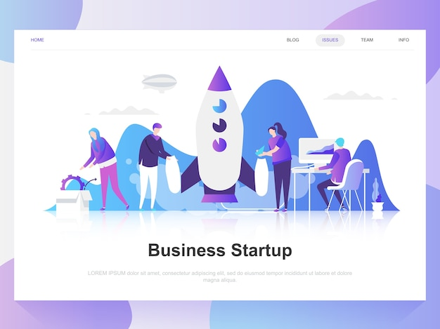 Business startup modern flat design concept.