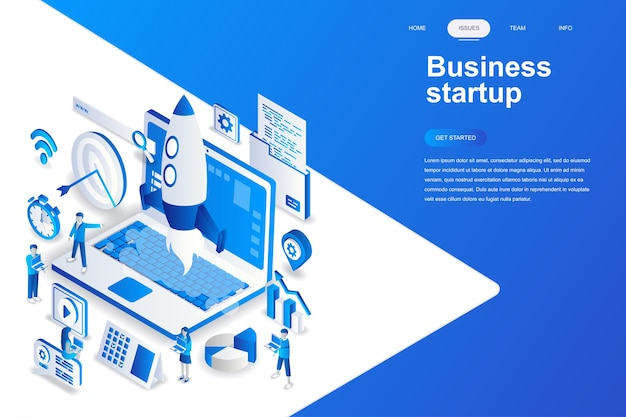 Business startup modern flat design isometric concept.