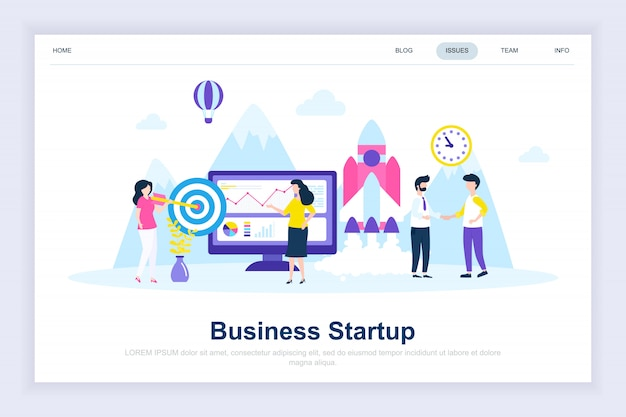 Business startup modern flat landing page