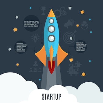 Business startup rocket launch flat poster