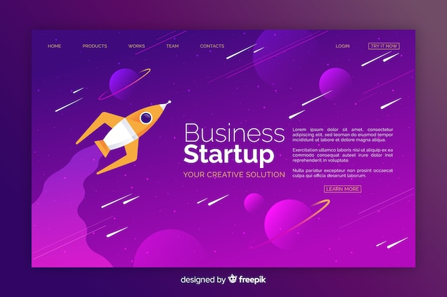 Business startup spaceship landing page