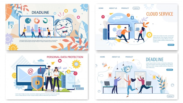 Business startup web banners set