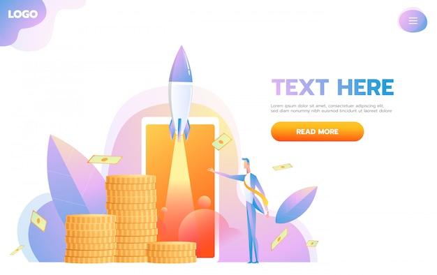 Business startup отзывчивый дизайн целевой страницы нового предпринимателя, анализ его роста или успеха в компании.