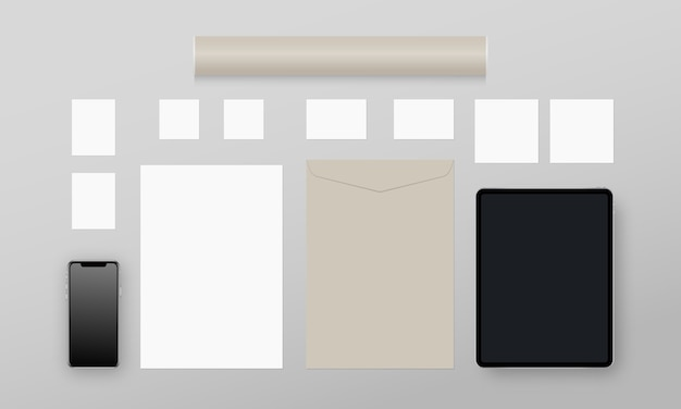 Business stationery. paper, business cards, cards, envelope, smartphone, tablet, paper tube. corporate identity template set. realistic
