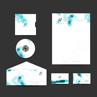 Business stationery set with blue mosaic