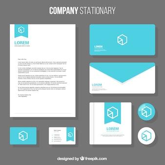 Шаблон бизнес канцелярские с геометрическим дизайном