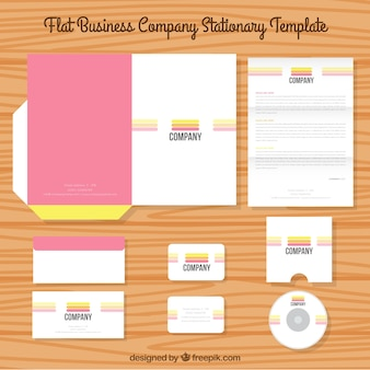 Business stationery template with three colored stripes
