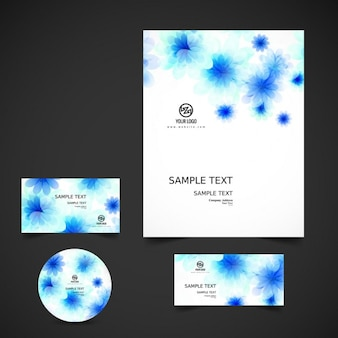 Business stationery with blue flowers