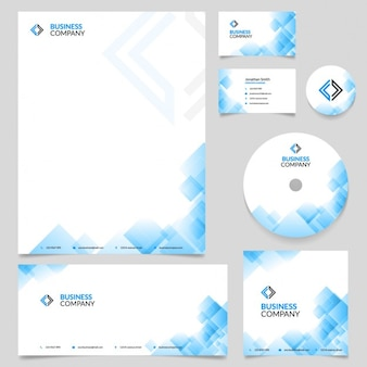 Business stationery with blue geometric shapes