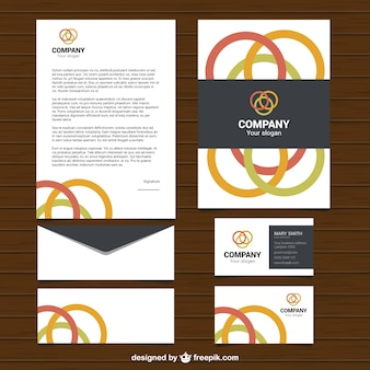 Business stationery with colored circumferences