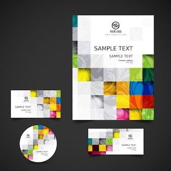 カラフルな正方形のビジネス文具