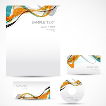 Business stationery with colorful waves