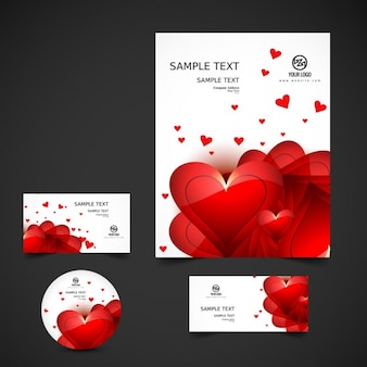Business stationery with hearts