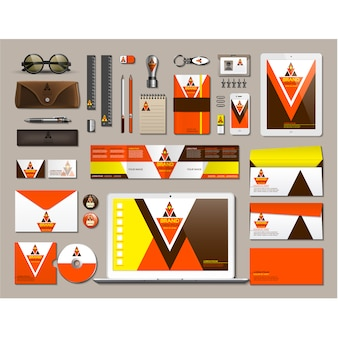 Business stationery with orange design