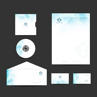 Business stationery with polygonal shapes