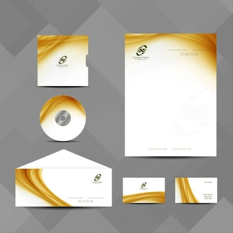 Business stationery with yellow wavy shapes