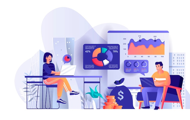 Business statistic flat design concept illustration of people characters