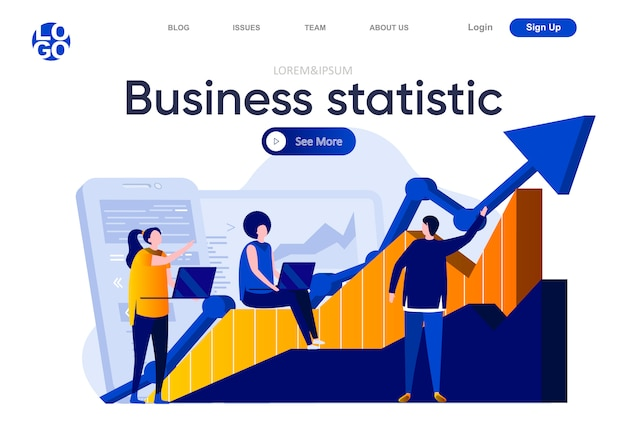 Business statistic flat landing page. team of business analysts studying growing diagram illustration. financial accounting and consulting service web page composition with people characters