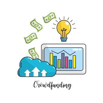 Business statistics bar inside computer and cash money