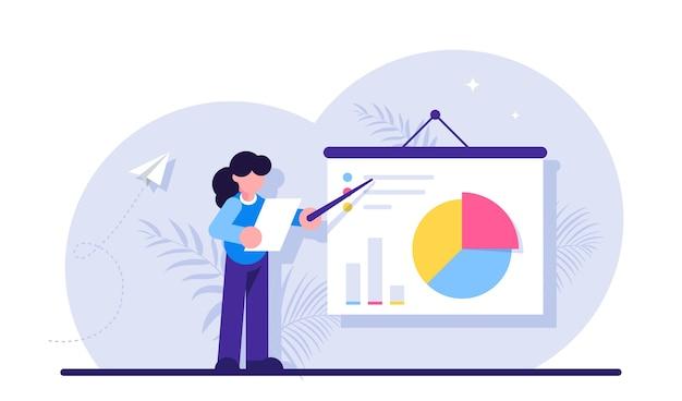 ビジネス統計、財務データのデモンストレーション、統計調査。プレゼンテーションを行うマネージャー