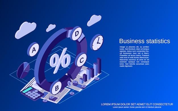 Бизнес-статистика, финансовый отчет плоский изометрический вектор концепции иллюстрации