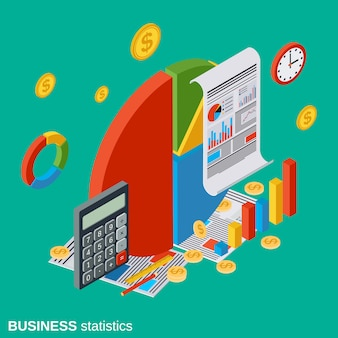 Business statistics flat isometric vector concept illustration