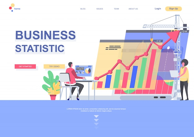 Business statistics flat landing page template. manager working with financial analytic with computer situation. web page with people characters. business accounting and consulting illustration