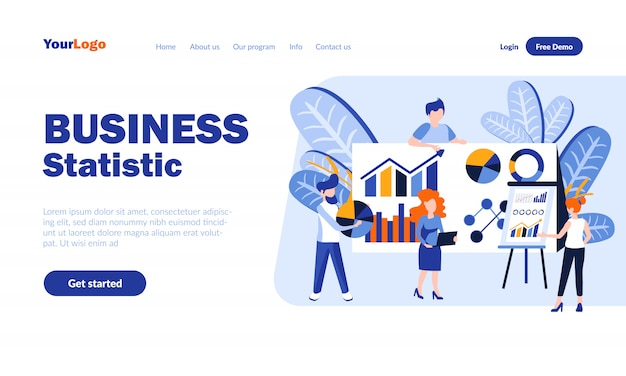 Business statistics flat landing page  with header