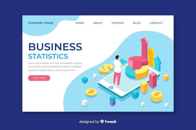 Pagina di destinazione isometrica delle statistiche sulle imprese