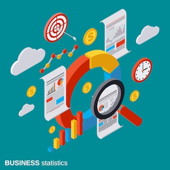 Business statistics isometric vector concept illustration