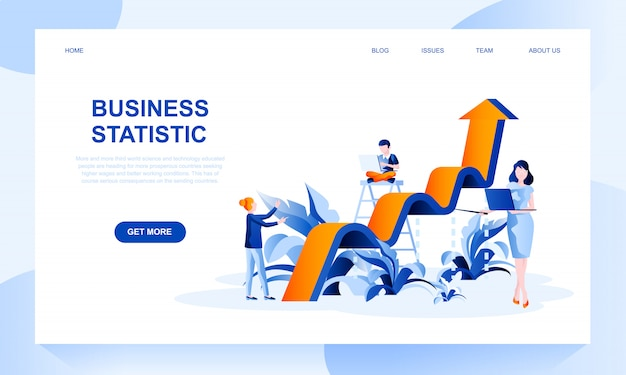 Business statistics landing page template with header