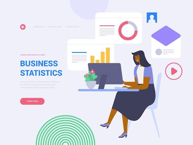 ビジネス統計ランディングページベクトルテンプレート。フラットなイラストとデータ分析のウェブサイトのホームページのインターフェイスのアイデア。ビジネス管理。財務分析ウェブバナー漫画の概念