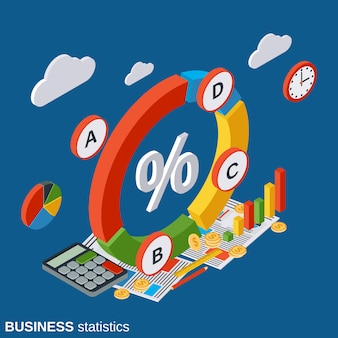 Business statistics vector concept illustration