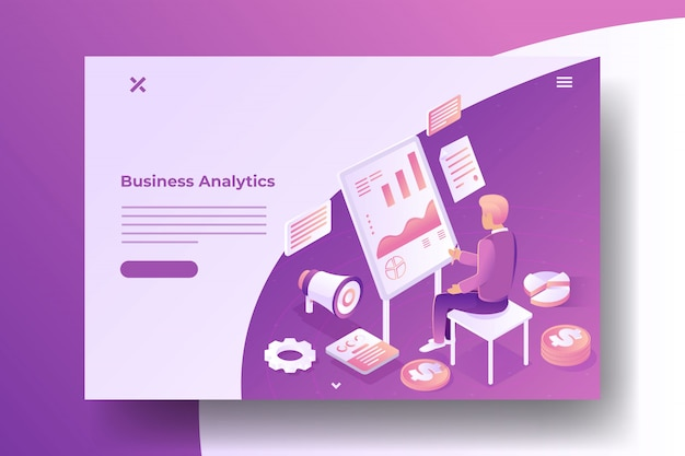 Business stats isometric banner