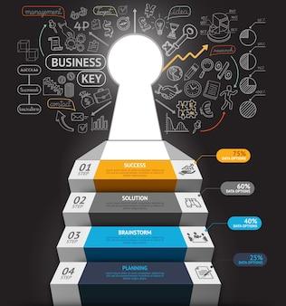 비즈니스 단계 개념 인포 그래픽. 열쇠 구멍 및 낙서 아이콘 비즈니스 계단입니다.