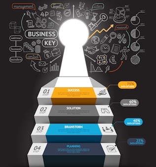 Business step conceptual infographics. business stair with key hole and doodles icons.