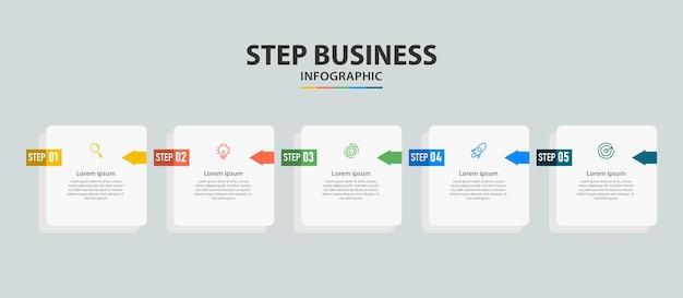 ビジネスステップデザインのインフォグラフィック要素